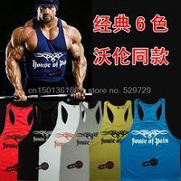Free shipping Men variant models professional bodybuilding ferret models cotton printed vest undershirt muscle exercise training
