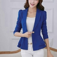 New 2015 Newest spring Korean Style Casual Solid Slim Puff-sleeved Women Blazer With Single Button And Falbala