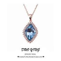 2015 Rock Long New Style Jewelry Noble And Elegant Blue Stones Rose Gold Chain Joias Vintage Neckalce Pendants For Women  prata