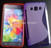 High Quality Black Soft TPU Gel S line Skin Cover Case For Samsung Galaxy Grand 3 G7200 Free Shipping FEDEX DHL EMS CPAM SGPAM