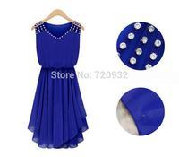 V-neck irregular sleeveless diamonds empire fashion women dress free shipping