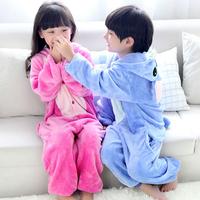 2015 new hot sale Winter Children Flannel Cartoon Stitch pajamas One Piece Kid Pajamas Hooded Romper Sleepwear