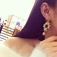 Korean star models retro style palace flash created diamond earrings black created diamond tassel earrings