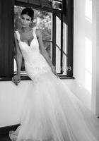 HYL Custom Size New Luxury White/ivory Lace Deep V Back Bridal Gown Spaghetti Strap Organza A-Line Floor-Length Wedding Dresses