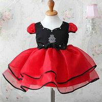 Kids Crystal Bowknot Tutu Dress Short Sleeves Girls Ball Gown Bubble Dress 2-7Y