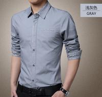 New Arrivals Tide Thin Cotton Men long sleeve shirts men's clothing plus Size Fashion Slim shirt Classic Tops  Blouse