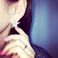 High levels of luxury jewelry zirconia created diamond earrings sparkle star pentagram earrings