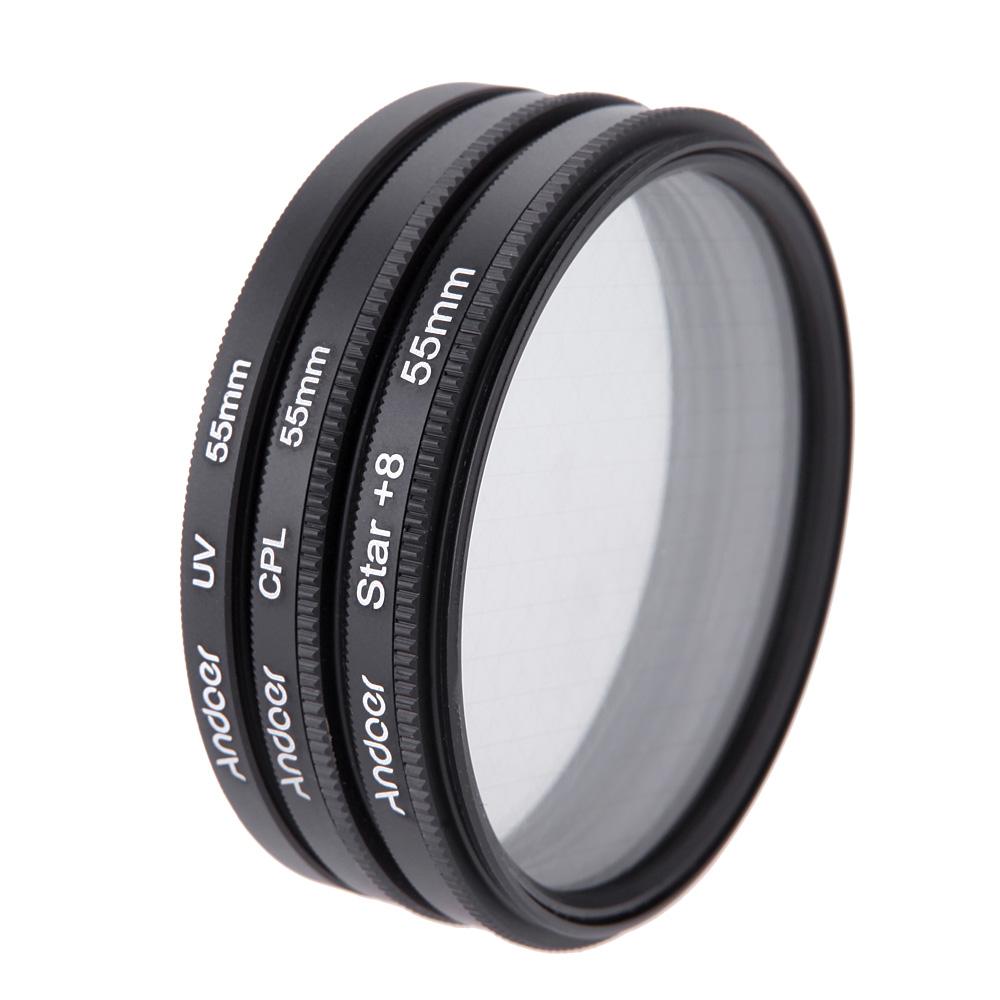 Andoer 55mm Filter Set UV Filter + CPL Filter + Star Filter Kit with Case for Canon Nikon Sony DSLR Camera Lens(China (Mainland))