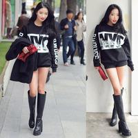 NYC Print Sweatshirt Long Sleeve Thicken Loose Blouse Warm Womens Tops Alipower