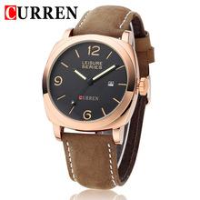 Top famosa marca de lujo moda CURREN nuevo reloj luminoso impermeable correa de cuero nobuck militar reloj de cuarzo caja oro brown