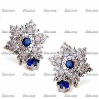 Celebrity Zircon wild fashion jewelry luxury shiny Dragon Flower Cut Emerald Green Austrian Crystal Tear Pear Drop Earrings