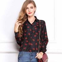 New fashion 2015 Hot Sale Women red lips Colorful Chiffon blouse lady fashion long sleeve Loose Blouse 8.5