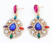 2015 New Fashion Korean Retro Luxury Rhinestones Carved Nightclub Queen Exaggerated Earrings For Women