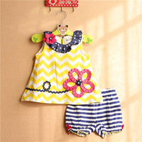 7sets/lot 2015 New Arrivals rare editions 6M-3T baby girls outfits, sleeveless mini dress top + shorts