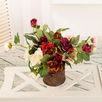 Free shipping 12pcs/lot 2 heads tea rose artificial flower silk flower for home decoration