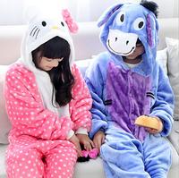 Hot Children Kids Flannel Animal Pajamas Anime Cartoon hello kitty Costumes Sleepwear Onesie Sleepwear Kids Onesies