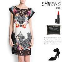 The new women wear short sleeved Vintage Lace Dress 6851#