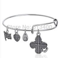 Vnistar 10pcs/lot America hot Alex and ani bangles & bracelets for women with lucky shamrock leaf charm VAB180