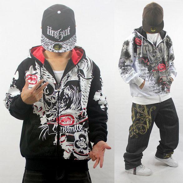 Hip hop com capuz manga comprida com chapéu da forma mens casacos casual hip-hop black white brasão para o menino homens ad roupas de skate 2015(China (Mainland))