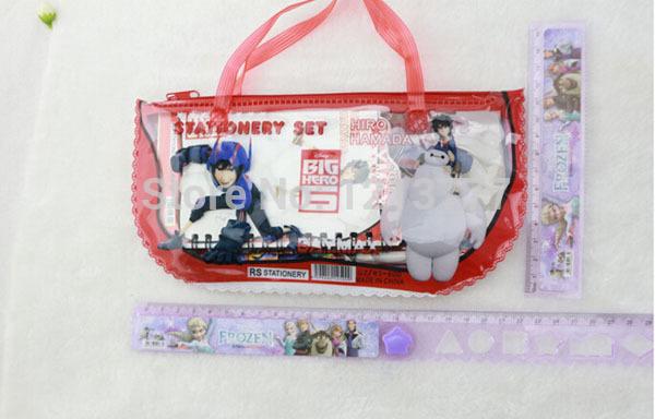 12 sets/lot 7pcs/set Big Hero 6 Stationery Set School Supplies pencil bag rubber ruler sharper Cartoon Girls Kid Favor Gifts(China (Mainland))