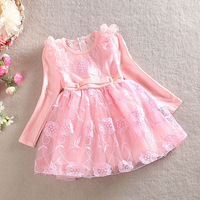 Girls summer lace dresses kids long sleeve spring dress children cotton fashion princess clothing baby party dress YF-098