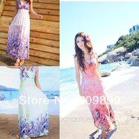 2015 New Europe and American Summer Dress Bohemia Sexy Hang Neck High Waist Dress Beach Dress Floor Length Dress  FE2610#S5