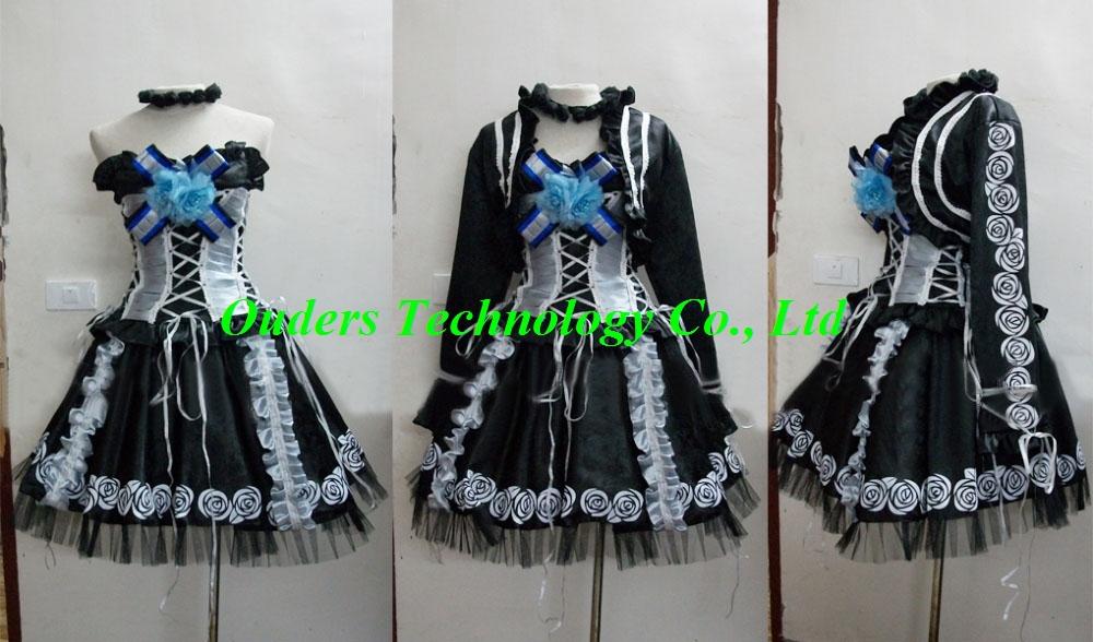 Freeshipping Yuki Cosplay (Goths) from Vampire Knight as Halloween Christmas cosplay costume(China (Mainland))