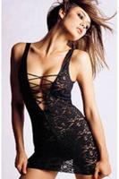 New 2015 Women Black Lace Nightgown Sexy Lady V-Neck Sleepwear Free Shipping Summer Mini Sexy Babydoll Nighties