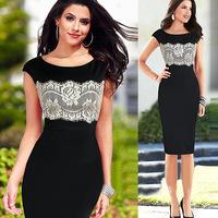 Women dress New 2015 Vestidos Femininos Summer Dresses Patchwork Flower lace dress Vestido De Festa Plus Size Party Dresses