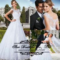 Fashionable 2015 Vestido De Noiva Scoop Neck Line Cap Sleeves Backless A Line Lace Wedding Dresses Bridal Dress