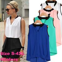 Women summer chiffion blouse plus size  tops maxi clothes V-neck shirt  patchwork Roupas Feminino Camisa Preto Rosa  LJ534XGJ
