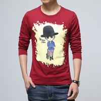 Plus size M~3XL 2015 Fashion Casual Men Cartoon Printing T-shirt New Men long sleeve O-neck slim t-shirt Men Clothing  5 Colors