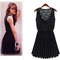 High Quality ! Flower Lace Dress Best Sell Vestidos Black Sexy Women Clothing Fashion &Sweet Dresses Transparent Dress Free Ship
