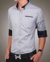 New Arrivals cotton Men long sleeve shirts men's clothing plus Size Fashion Slim shirt Classic Tops  Blouse