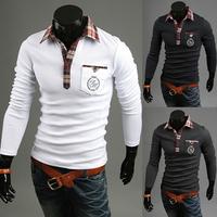 The 2015 men are pure color long sleeved T-shirt lattice Lapel hot   sale slim  Fit  men  t-shirts size M-XXL  3Colors  PPY12