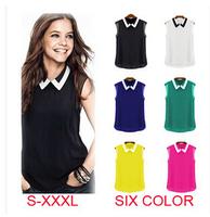 2015 New Blusas Femininas Spring Summer Brand Casual Chiffon Blouse Turn-down Collar Fashion Sleeveless Women Blouses & shirts