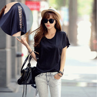 Hot Sale Women Summer Korean loose Hollow Out Fashion Batwing Sleeve T Shirt , Modal Tshirts  Free Shipping