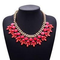 2015 New Arrival Fashion Statement Good Quality Luxury za Resin Flower Choker Crytsal Clain Necklace Jewelry 3955