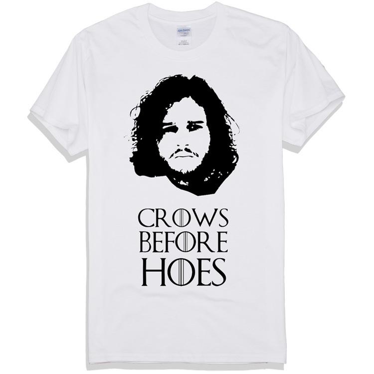 Jon Snow noir Portrait Crows Game of Thrones homme t-shirts 2015 mode vêtements vêtements de marque de haute qualité écran imprimer(China (Mainland))