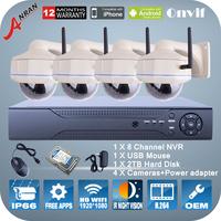 2.0Megapixel 1080P HD IR Night Vision WIFI Camera KIT ONVIF H.264 8CH NVR Network Video Surveillance Wireless Cameras System