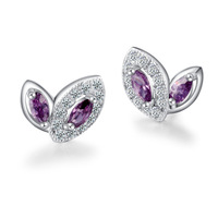 100% Sterling Silver Jewelry Romantic Purple Butterfly Stud Earrings Top Quality Christmas Gift  Free Shipping