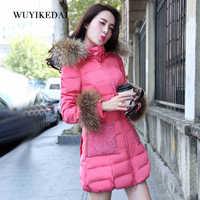 2014 Winter Thicken Warm Woman Down jackets Coat Parkas Outerweat Luxury Long Slim Raccoon Fur collar Hooded Plus Size 2XXL Lace