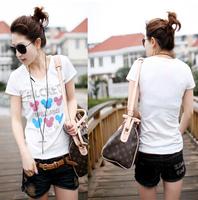 Wholesale-2015 New Arrival Women Casual Short Sleeve T-shirt O-Neck Slim T-shirt 1pc/lot