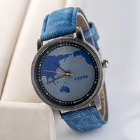 2015 women's watch men wristwatches brand quartz fabric strap analog watch world map printed FP098