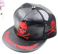 Trending skull PU punk hip-hop snapback baseball mesh cap