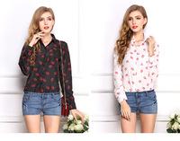 Chiffon Shirts 2015 New Fashion Long Sleeve Shirt Women Lip Kiss Pattern Casual Loose Tops Lady Blouse