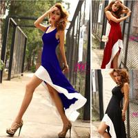 Women dress New 2015 Vestidos Femininos Summer Dresses Patchwork color Fishtail dress Vestido De Festa Plus Size Party Dresses