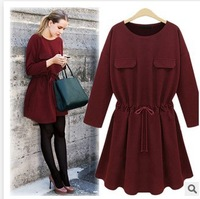 Plus Size 3XL 2015 Spring  Slim  Waist  Long Sleeve Solid Color Fake Two Pockets Women  Dresses O-Neck Cheap Casual Dresses
