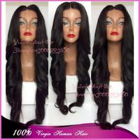 "In Stock! best 6A quality 10""-32"" #1b extra long wavy human hair full lace wigs 100virgin brazilian hair free shipping"