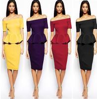 Women Dress New 2015 Vestidos Femininos Party Dresses Strapless Patchwork Ruffles Tropical plus size dress